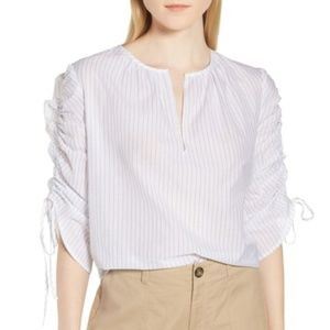 Nordstrom Pull Tie Sleeve Stripe Cotton Blouse